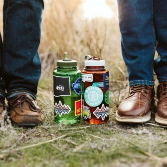 Wide mouth bottles with ample stickers - lifestyle photo